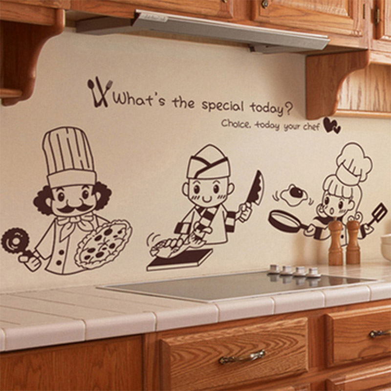 Aliexpresscom buy kitchen cooking chef wall sticker for Kitchen cabinets lowes with soccer stickers for walls