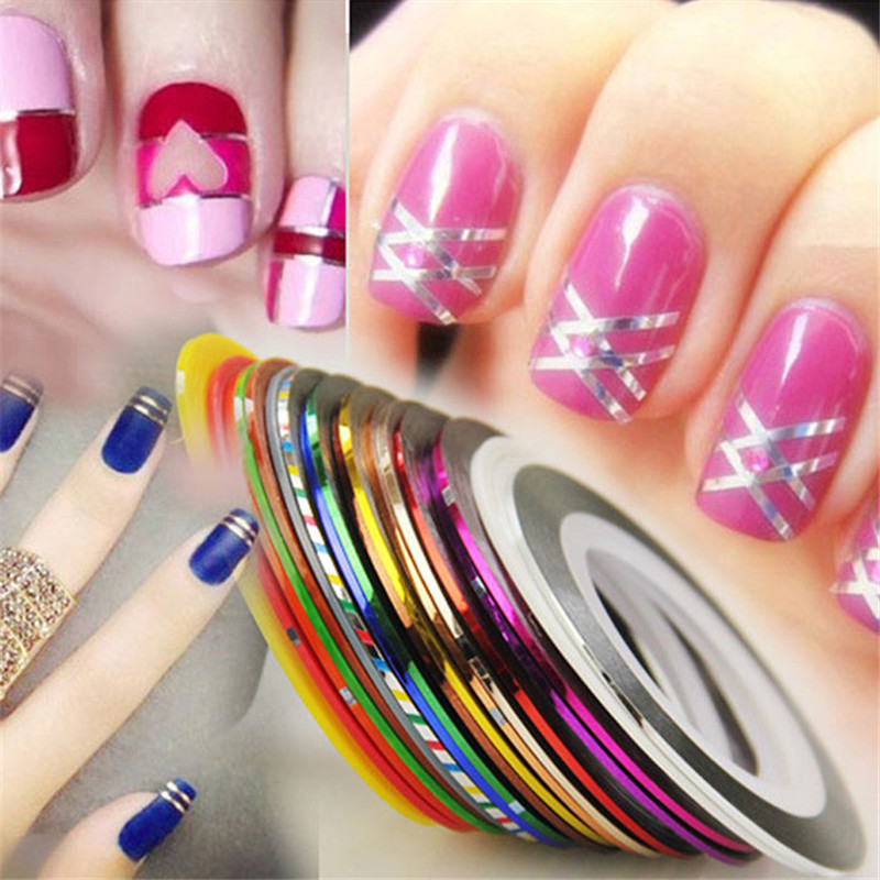 30Pcs women Mixed Colors Rolls Striping Tape Line Nail Art Tips Decoration Sticker 100% Brand New And High Quality 2017 Anne-in Stickers & Decals from ...