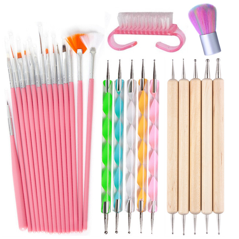 15Pcs Acrylic Nail Art Brush Pen UV Gel Nail Polish Painting Drawing Brushes Dotting Pen Kit Clean Brush Nail Art Tool Set