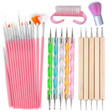 цена на 15Pcs Acrylic Nail Art Brush Pen UV Gel Nail Polish Painting Drawing Brushes Dotting Pen Kit Clean Brush Nail Art Tool Set