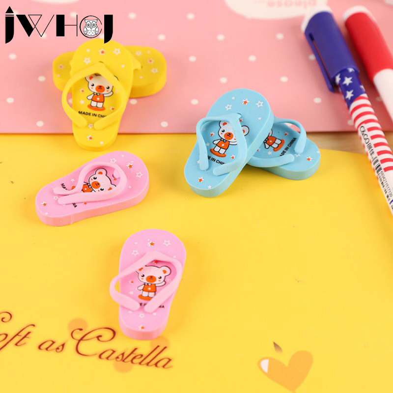 2 Pcs/lot JWHCJ Novelty Cute Slippers Rubber Eraser Kawaii Creative Stationery School Supplies Papelaria Gift For Kids