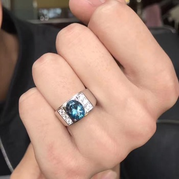 Real And Natural Blue Topaz Ring Man ring Free shipping 925 sterling silver 8*10mm gem For men Fine handworked jewelry