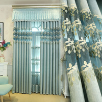 New Relief Curtain Blue Tulle European Curtains Upscale Villa Chenille Embroidery Curtain And Tulle Fabric Finished