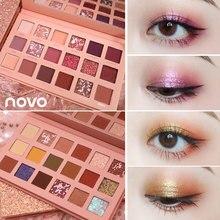 NOVO 18 Colors Glitter Shimmer Matte Eyeshadow Palette Pigmented Metallic Natura