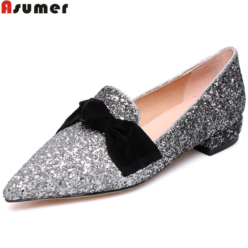 ASUMER black beige fashion spring autumn shoes woman pointed toe shallow casual bling square heel women low heels shoes [328] women autumn fashion shoes pu skin shallow low heeled shoes with high heel pointed shoes for ol lss 888