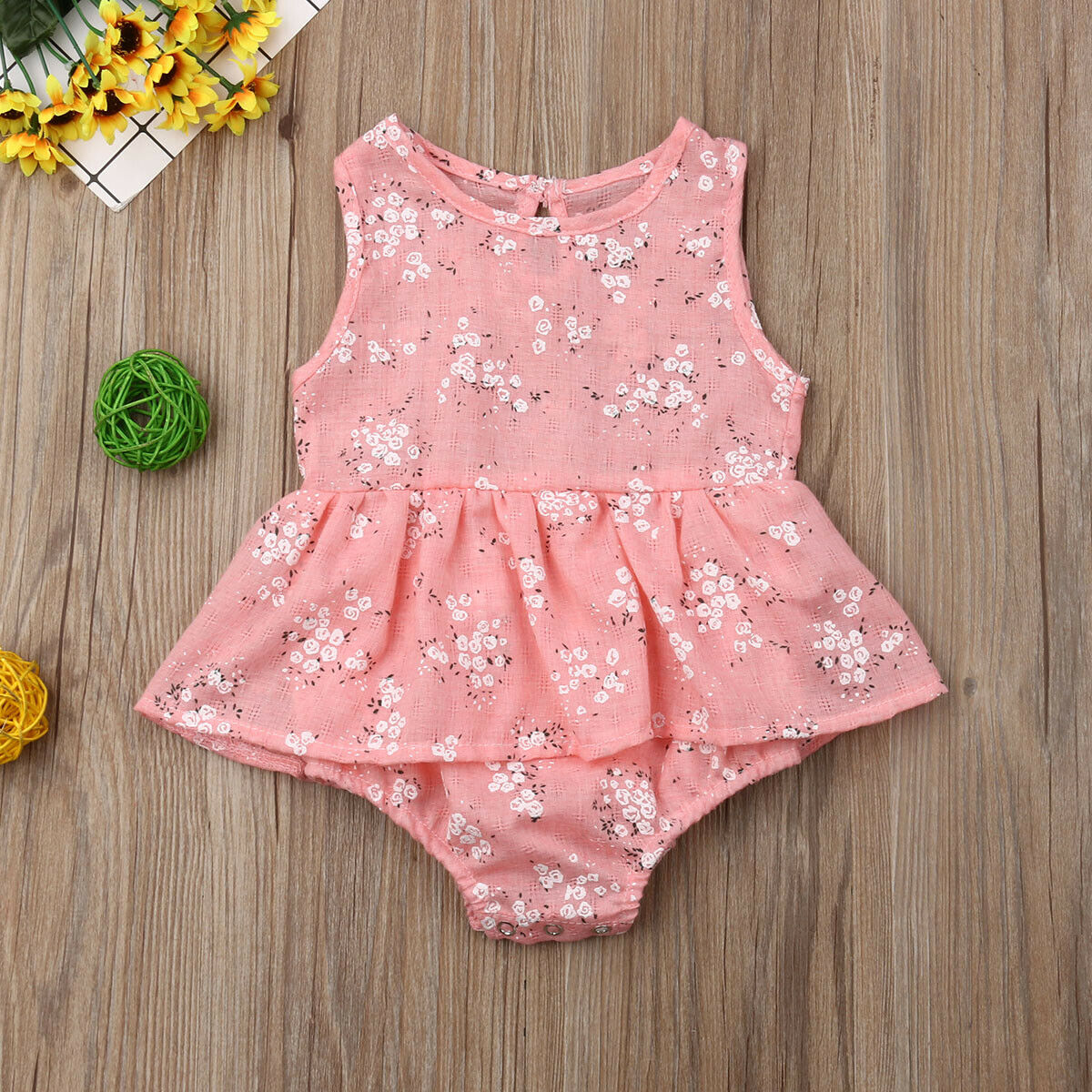 bd2889434 Newborn Toddler Baby Girl Clothes Ruffle Floral Romper Sleeveless Jumpsuit  Cotton Outfits Sunsuit Clothes ~ Super Deal June 2019