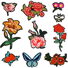 10PCS flower series mixed iron on patches for clothing bee motif badges embroidery patch fabric for clothes jeans decoration DIY