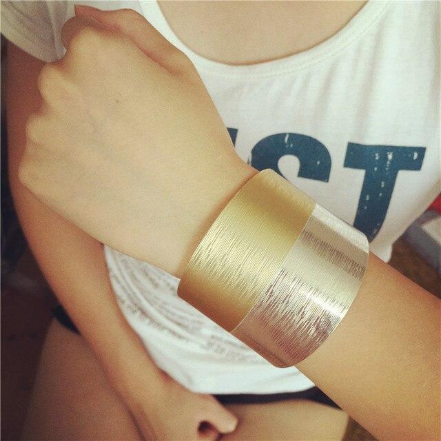 Kpop vintage punk metal wide gold silver cuff bangle/men bracelet/pulseiras wholesale free shipping/bijoux femme/pulseras mujer