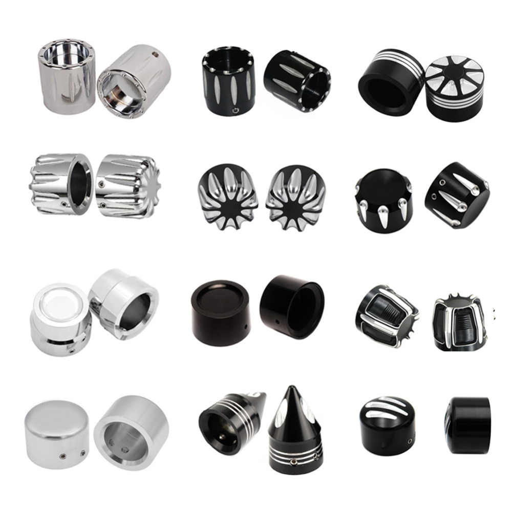 1 Set Front Rear Axle Nut Cover Cap Black CNC Aluminum Alloy Axle Nut Covers Bolt Kit for Harley Softail Electra Glides