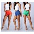2016 Summer 3 Colores Sólidos de Las Mujeres Remache Borla de La Manera Floja Mujer Pantalones Cortos de Mezclilla de Talle alto Short Jeans Punk Sexy Caliente MQ350