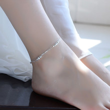 TJP Trendy 925 Silver Women Bracelets Jewelry Latest Balls Hollow Double Layers Girl Anklets For Lady Female Party Bijou