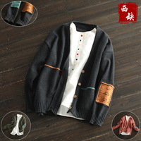 2017 New Cotton And Linen Embroidery V Neck Sweater Autumn And Winter Female Patchwork Sweater Cardigans