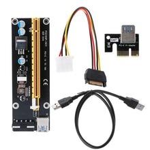 1 компл. pci-e 1x к 16x Extender PCI Express Riser Card + USB 3.0 кабель для передачи данных 60 см + SATA до 4-Булавки IDE Molex Питание Новый C26