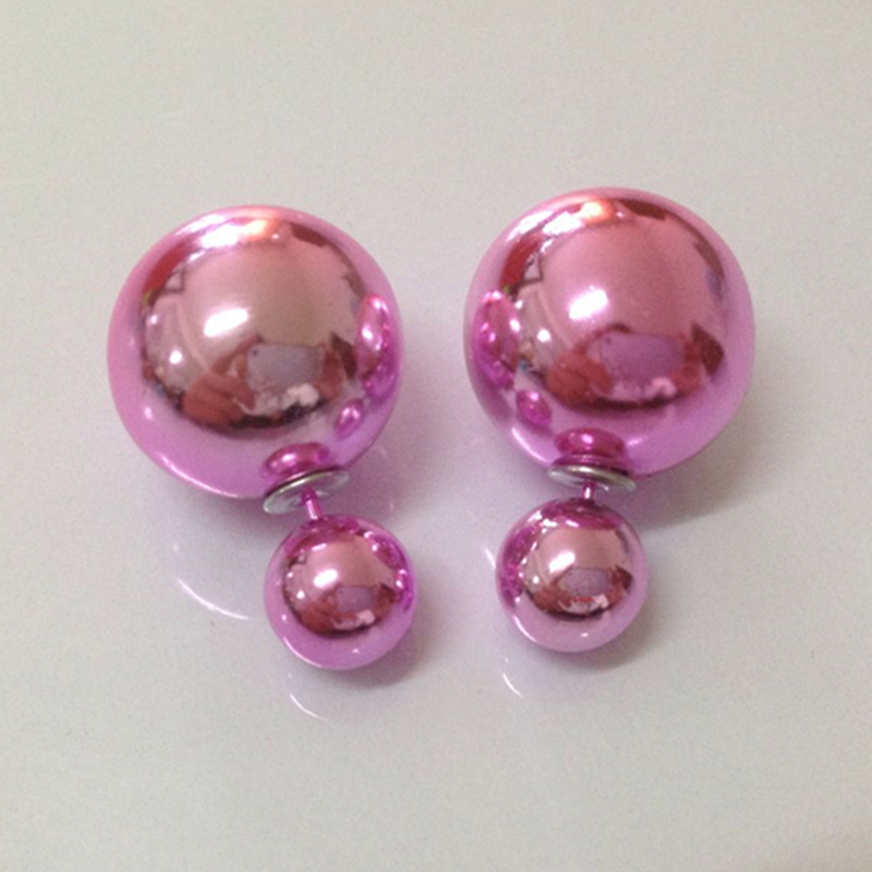 Fashion Paragraph Hot Selling Earrings Double Side Shining simulated pearl 15mm Stud Earrings Big simulated pearl