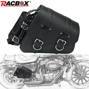 Universal Black PU Leather Saddle Bag Motorcycle Tool Luggage Side Saddle Bag For Harley Sportster XL 883