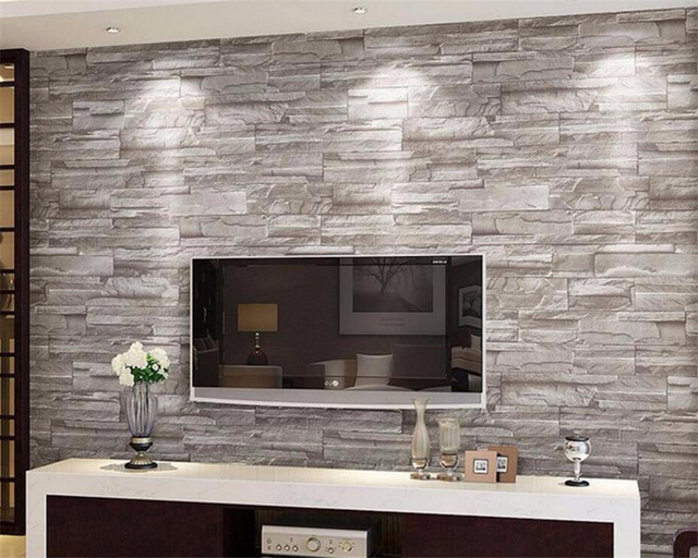 Beibehang Retro embossed wallpaper brick wall modern white 3d ...
