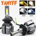 YAMYFF Автомобильные фары H4 LED H7 LED H11 светодиодные лампы 3000K 6000K 8000K 9000LM H1 H3 9005 9006 H27 4300K Автомобильные противотуманные фары 12 В