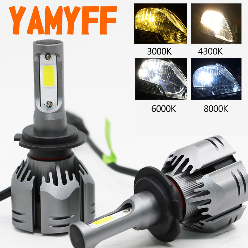 YAMYFF Car Headlight H4 LED H7 LED H11 LED Bulbs 3000K 6000K 8000K 9000LM H1 H3 9005 9006 H27 4300K Bulb Auto Fog Light Lamp 12V