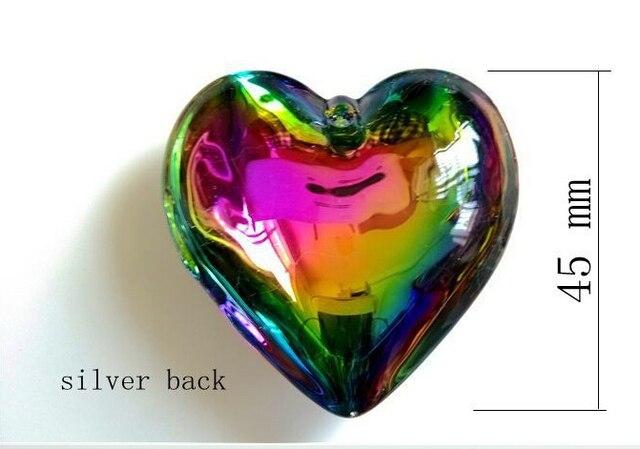 45mm 10pcs lot chandelier crystal parts vitrail rainbow heart