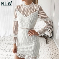NLW 2019 Summer Casual Sexy Lace White Dress Solid Color Double Layer Dress Hollow Out Long Sleeves Dress Women Vestidos