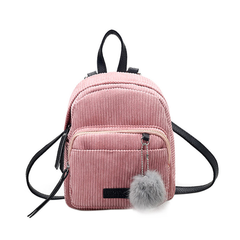 Fashion Autumn Women Backpack Corduroy Mini Backpack with Plush Ball Girls Shoulder Bag Fur Ball Corduroy Backpack Mochila New
