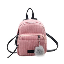 Fashion Autumn Women Backpack Corduroy Mini Backpack with Plush Ball Girls Shoulder Bag Fur Ball Corduroy Backpack Mochila New