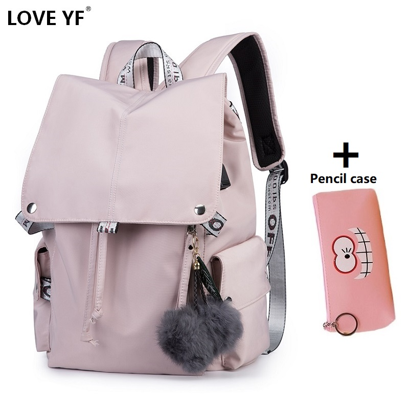 Us 4 66 44 Off New Pink Women S Backpacks Student Laptop Bag Usb Charging Jack School Bags Travel Bolsa Escola Mochila In