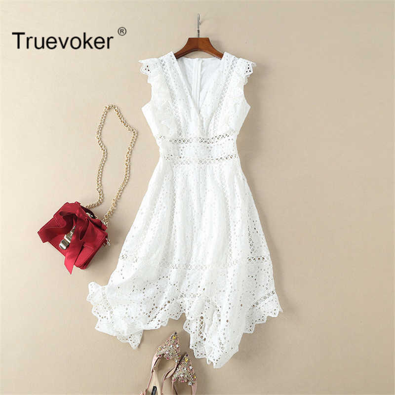 698277313c2 Truevoker Summer Designer Dress Women's High Quality Sleeveless V-neck  White Embroidery Cutout Hollow Out