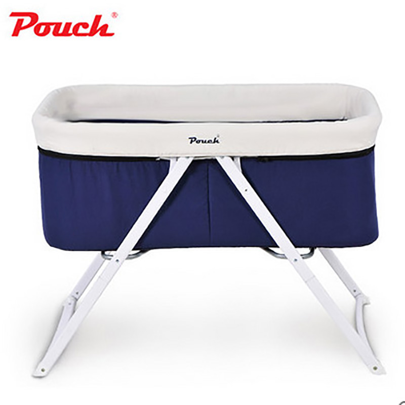 Pouch baby bed fashion multifunctional concentretor baby bed folding portable travel cradle bed baby bed folding multifunctional portable baby bed iron newborn cradle