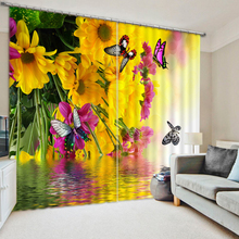 цена на Europe Blackout Curtains Yellow Flower Colored Butterfly 3D Pattern Fabric Washable Girl Bedroom Curtains Window for Living Room