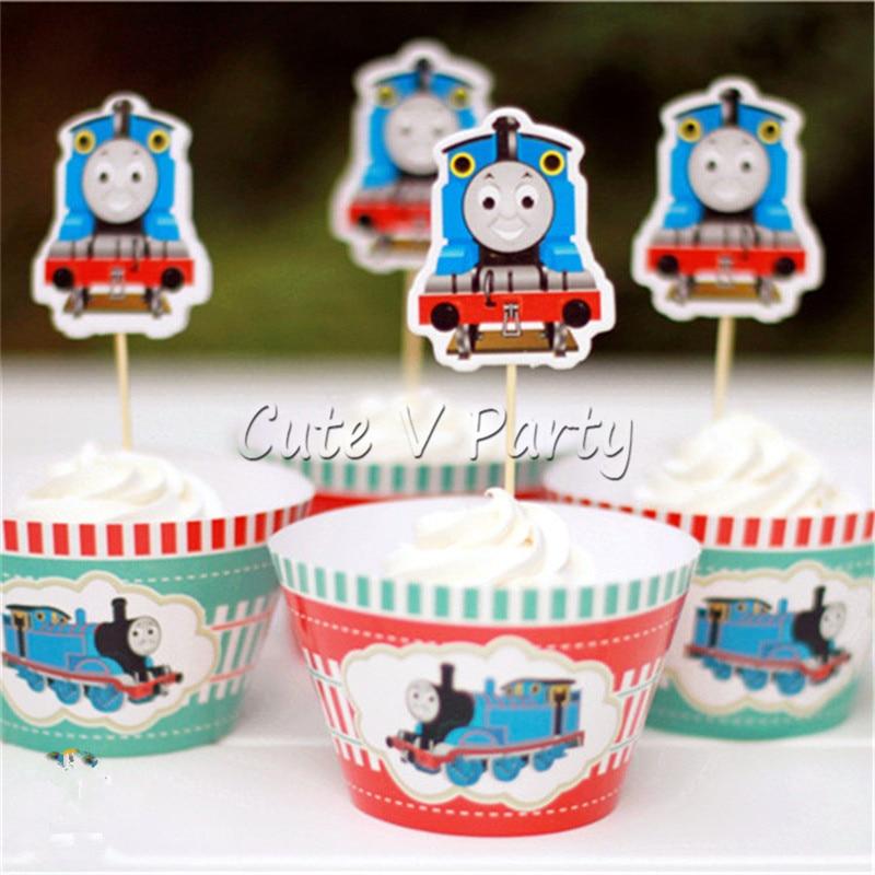 24pcs Lot Cartoon Thomas Cake Bordetopper Cartoon Train