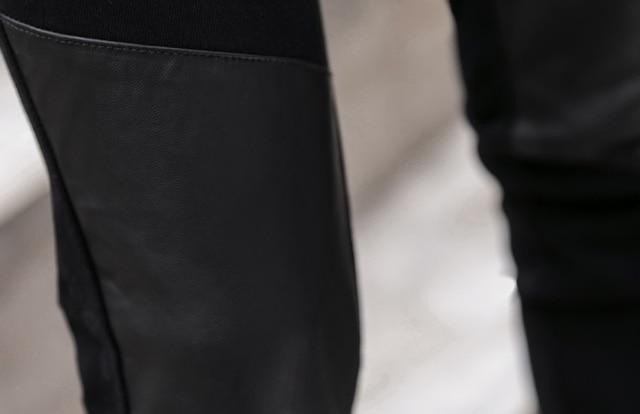 Fashion Men's Pant Faux Leather Jeans Spliced Denim Trousers Male Stretch Slim Fit Punk Stage Singer Motorcycle Casual Pants Men 6