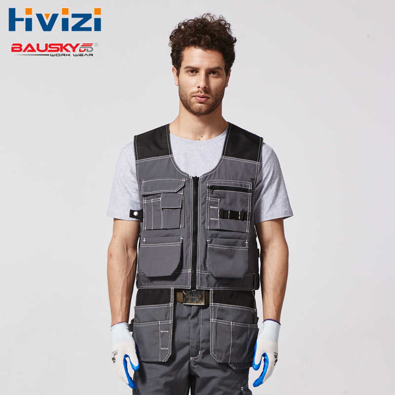 Mens Top Vest Working Vest Utility&Safety Tool Vest Workwear Navy And Grey Free Shipping B208