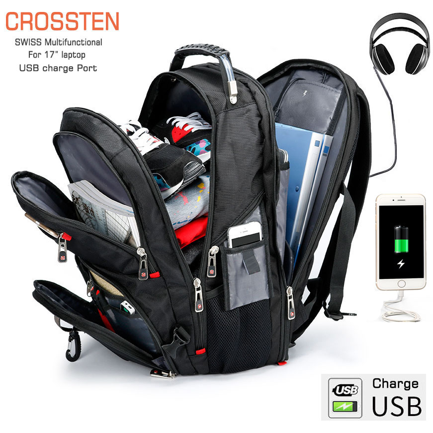 "Crossten Swiss Multifunctional 17.3"" Laptop Backpack Sleeve Case Bag Waterproof USB Charge Port Schoolbag Hiking Travel Bag(China)"