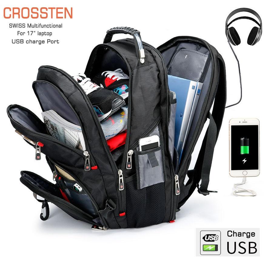 Crossten Swiss Multifunctional 17.3 Laptop Backpack sleeve case bag Waterproof USB Charge Port Schoolbag Hiking Travel bag