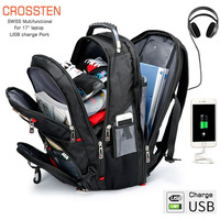 Crossten Swiss Multifunctional 17.3 Laptop Backpack sleeve case bag Waterproof USB Charge Port Schoolbag Hiking Travel bag