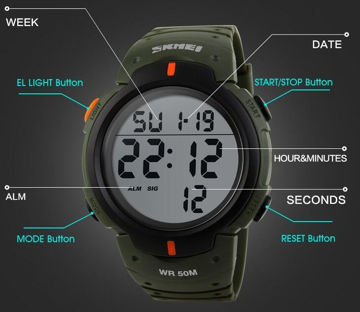 IsMyStore: SKMEI Luxury Brand Outdoor Sports Watches Men Waterproof Digital LED Military Watch Men Casual Electronics Wristwatches