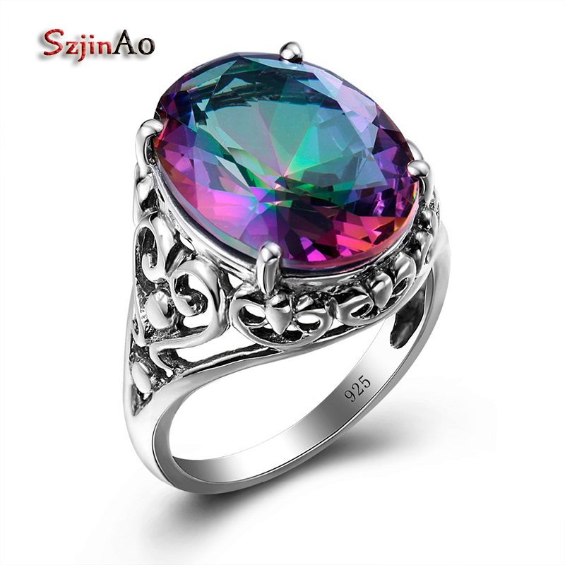 Szjinao Sale Charm Punk Heart Solid 925 Sterling Silver Jewelry Mystic Rainbow Topaz Ring For Women Valentine Day Gifts Party valentine s day petals heart pattern waterproof table cloth