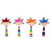 Subcluster Random style Baby Wooden Hand Rattles Musical Party Favor Child Shaker Percussion Instrument Educational Toy