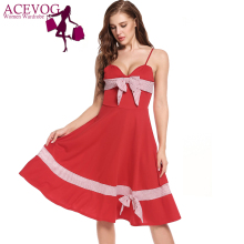 ACEVOG Women Sexy Dress Summer Vintage Striped Patchwork Bow Tie A-Line Pleated Hem Elastic Spaghetti Straps Prom Cami Vestidos