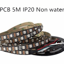 5m 5V WS2812B 60LED/M Dream Color RGB Pixel LED Strip Black