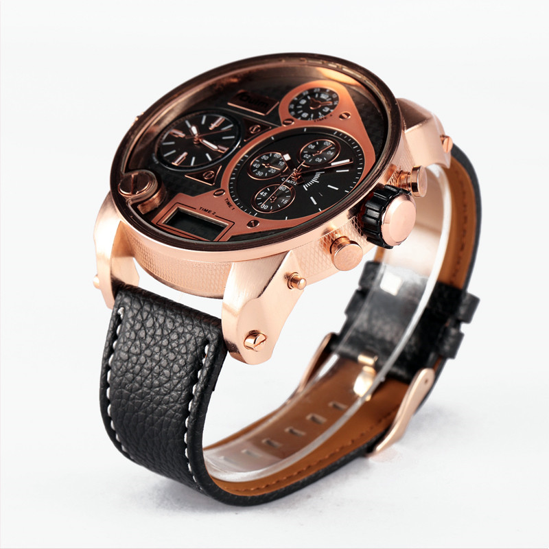 5.5cm Oversized Dial OULM 9316B Brand New Design Japan Movt Fashion Watches Mens LCD Display 3 Time Casual Leather Watch Montre new brand movt 00805516