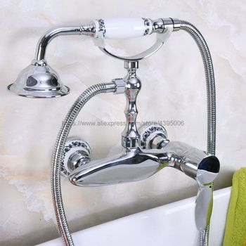 Free Shipping Bathroom Shower Faucet Bath Faucet Mixer Tap With Hand Shower Head Set Wall Mounted Chrome Bna177