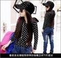 2015 Nova Moda Primavera crianças crianças meninas hoodies meninas do estilo casual brasão jaquetas moda polka dot 8-12Y
