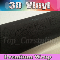 Embossed 3D Black VINYL Car Wrap Film with Air Free emboss flower textured vehicle covering graphic foil VINYLE 1.52x30m 5x98ft