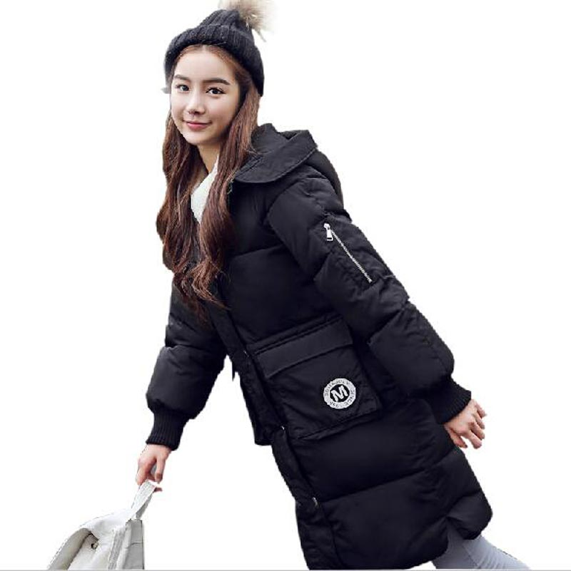 ФОТО winter warm jacket for women 2016 new good quality cotton coat plus size loose x-long hooded parkas women outerwear coat kl0494