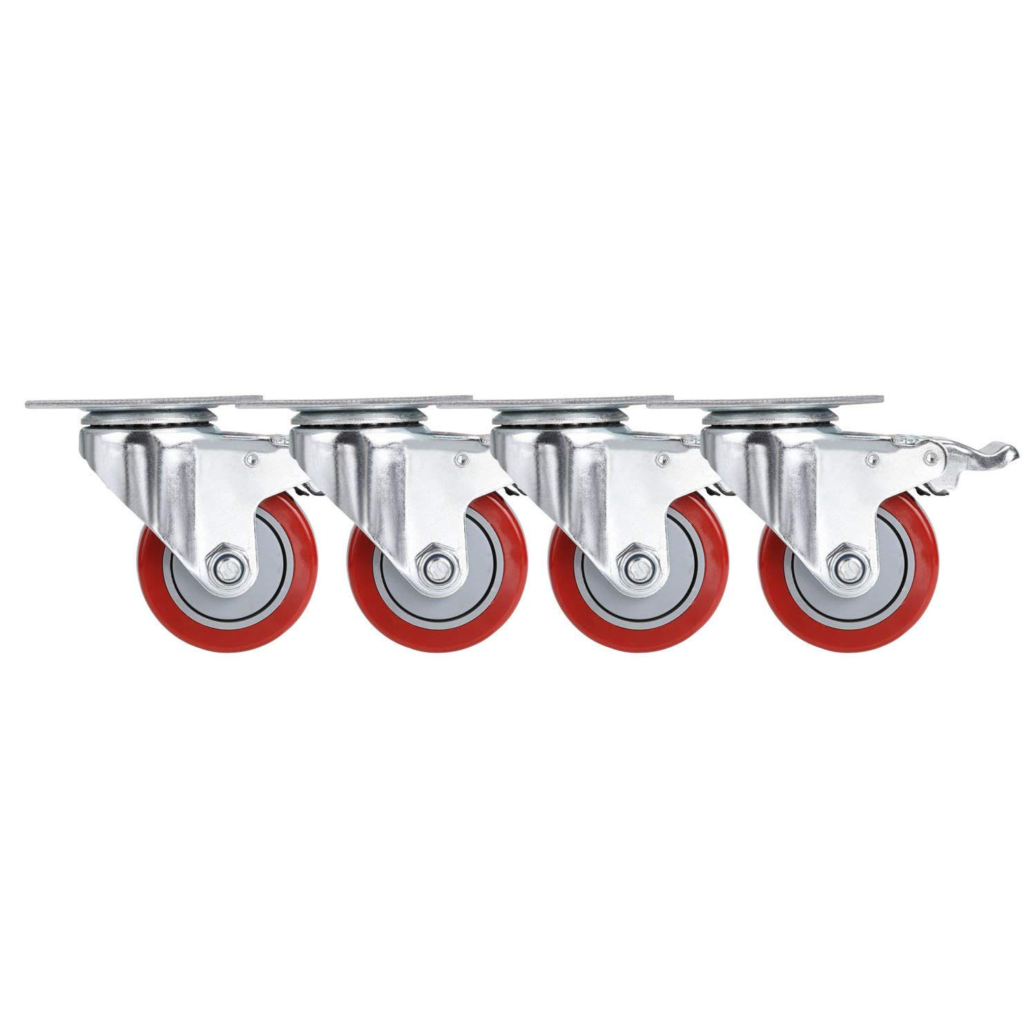 Useful 3 inch PVC Heavy Duty Swivel Caster Wheels 360 Degree Top Plate with Brake Pack of 4 (880Lbs) (red)Useful 3 inch PVC Heavy Duty Swivel Caster Wheels 360 Degree Top Plate with Brake Pack of 4 (880Lbs) (red)