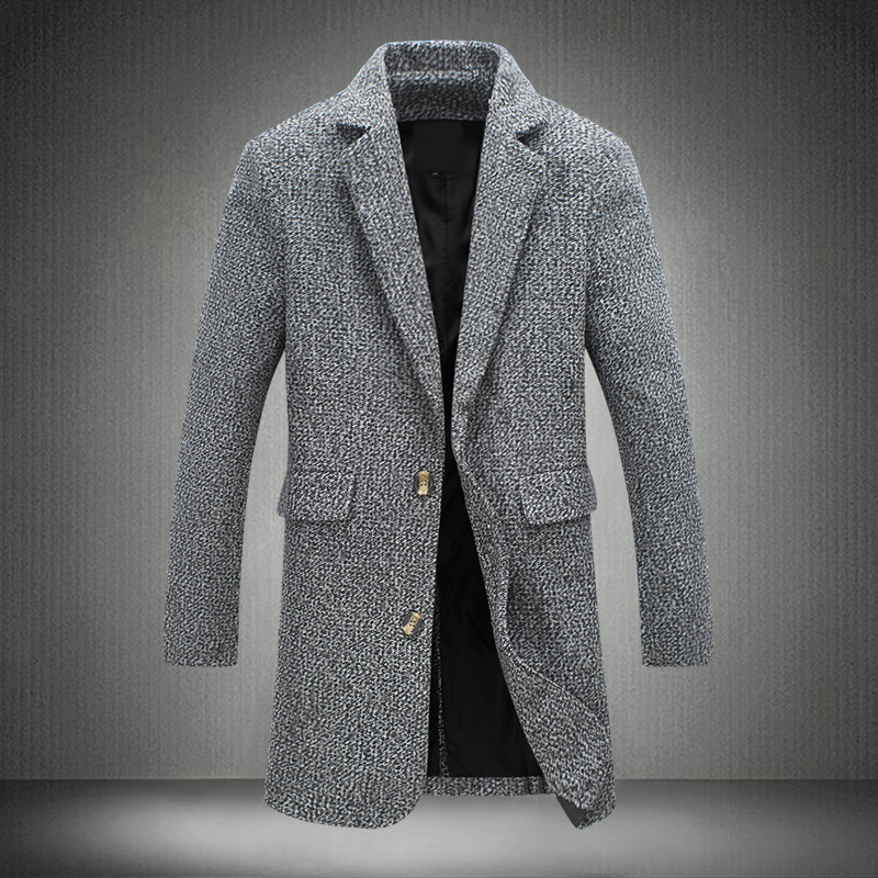 2017 New Long Trench Coat Men Winter Windbreak Red Solid Grey Fashion Style Thick Warm Overcoat M-5XL Long Trench Male Jackets