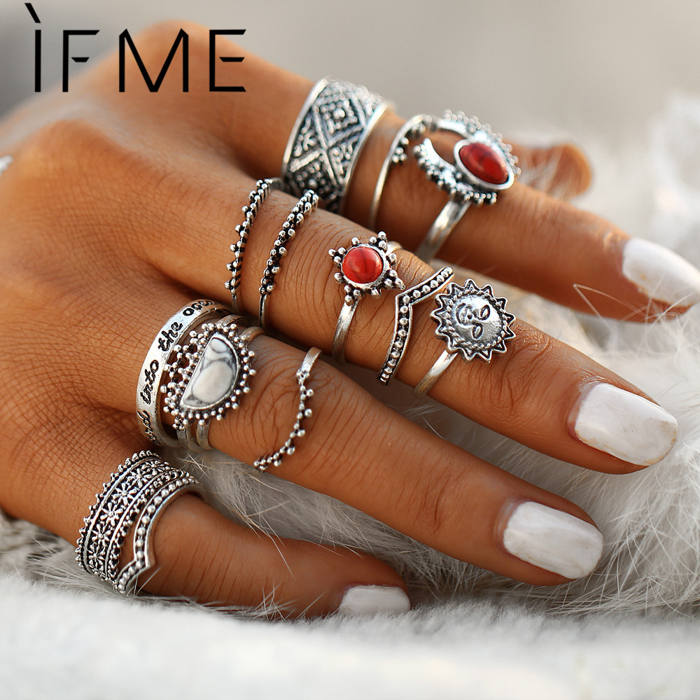 IF ME Vintage Bohemian Midi Finger Rings Set for Women Moon Sun Etnisk Rød Naturstein Knuckle Rings Smykker Gift 14pcs / set