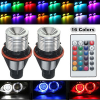 2pcs 10W 1000LM Canbus Error Car Auto RGB LED Angel Eyes Halo Ring Light Bulb With 24 Remote Control For BMW E39 E60 E61 E63 E64